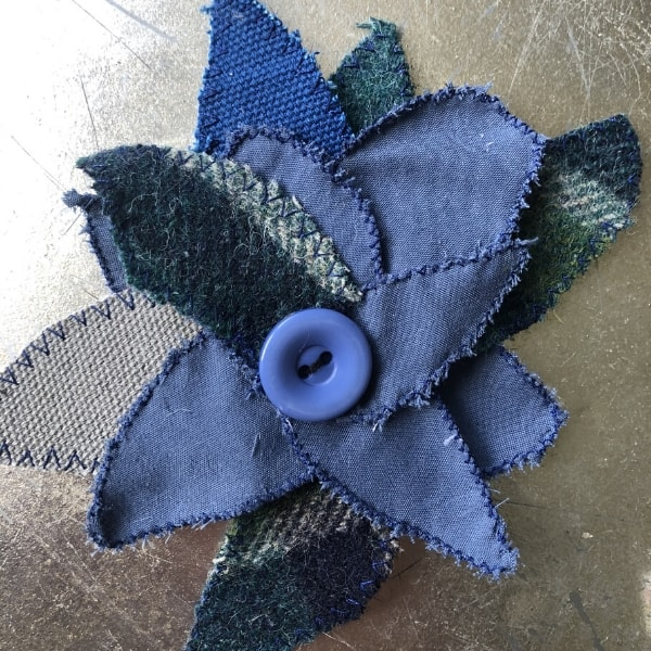 tweed and blue scrap fabric flower