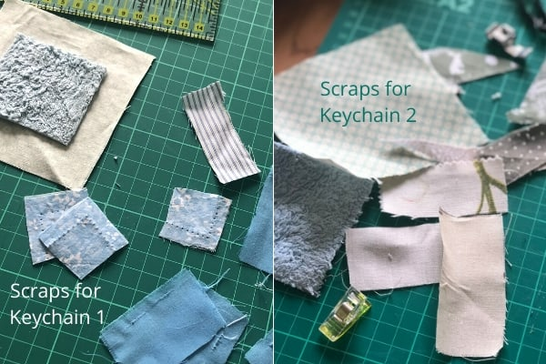 quilt as you scrap fabric keychain
