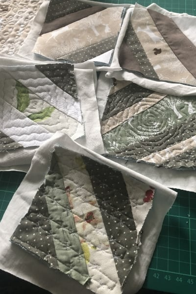 scrap fabric strips quilt as you go blocks