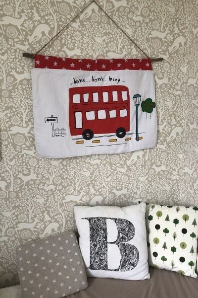 diy kids wall hanging from a fabric remnant