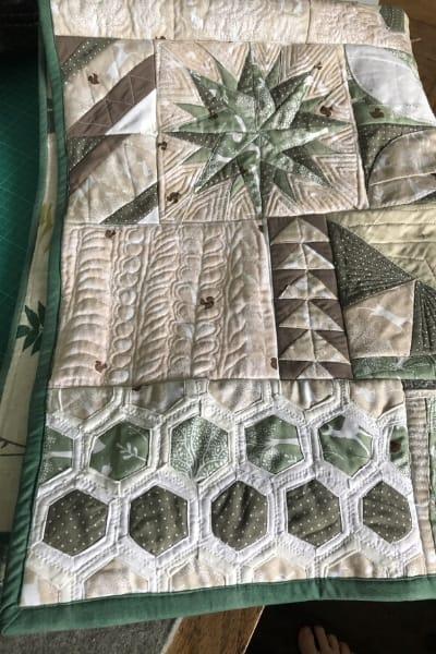 hexagon quilt as you go panel