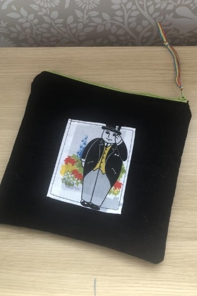 fat controller pencil case from scrap fabric