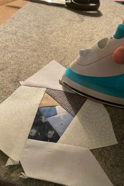 ironing scrappy improv block