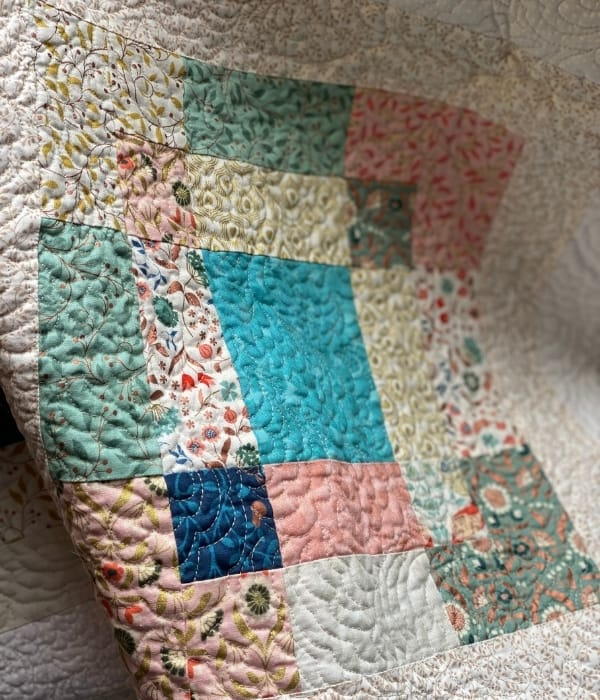 free motion quilting close up