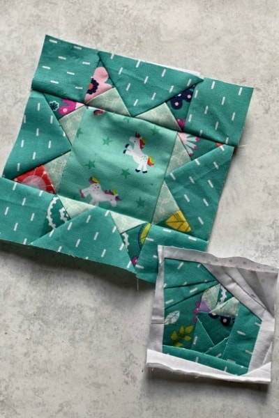 mini scrap fabric blocks -teal
