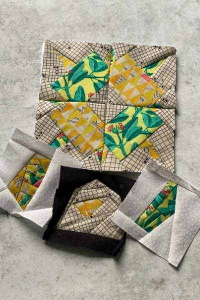 mini scrap fabric blocks yellow