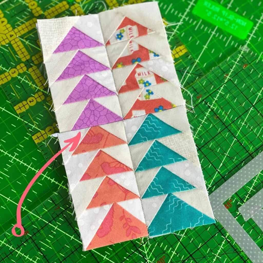 mini flying geese foundation paper piecing