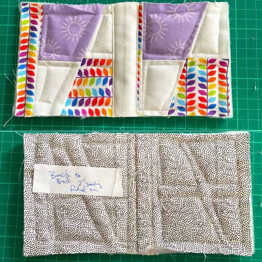 quilt as you go back to back with sashing