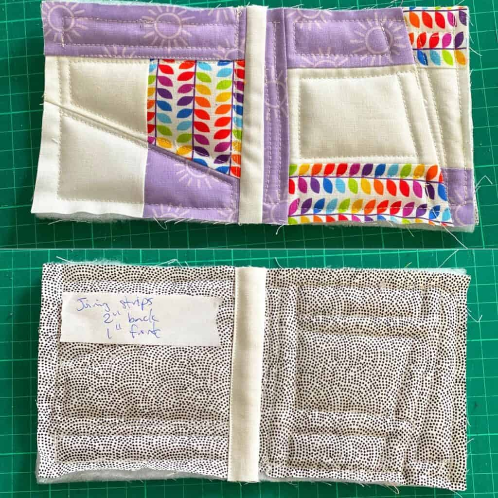 quilt as you go joining strip on the front