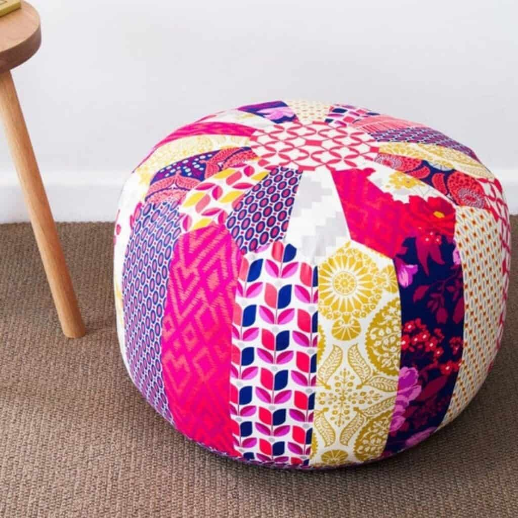 patchwork pouf sewing pattern