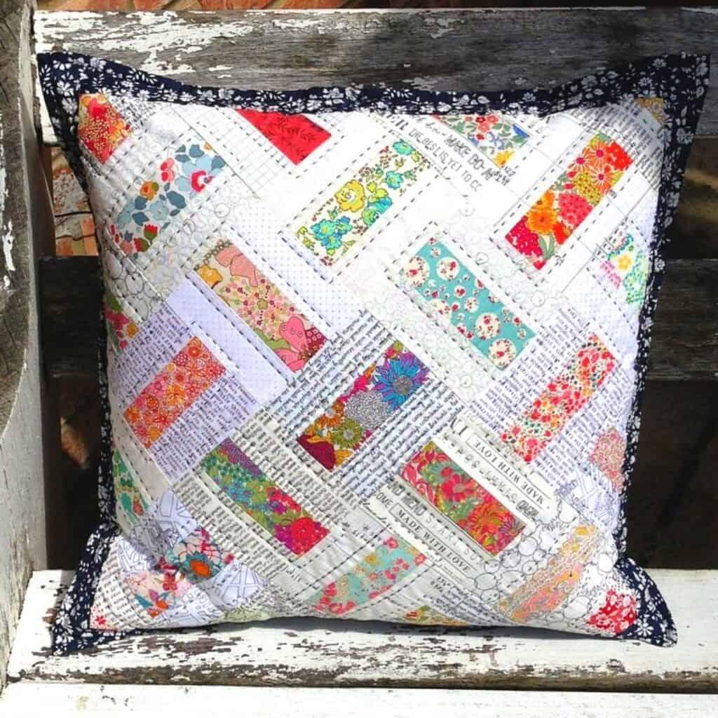 scrap fabric cushion pattern