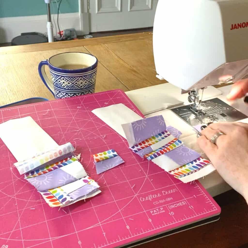sewing scraps to adding machine tape