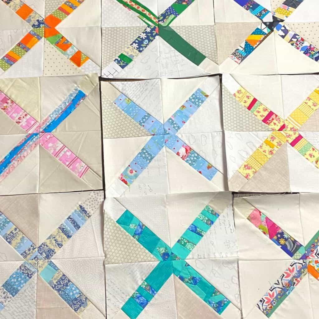 scrappy strips in quilt blocks