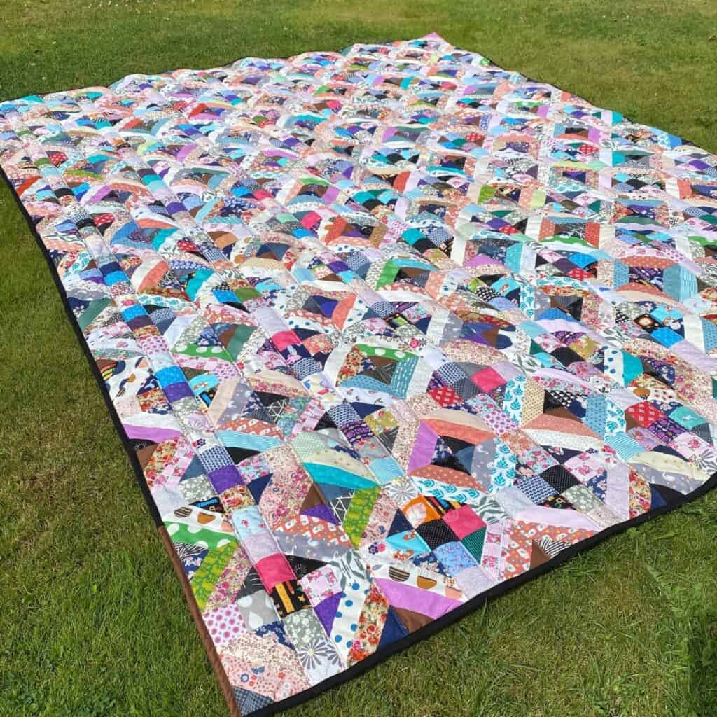 queen sized quilt as you go in sections