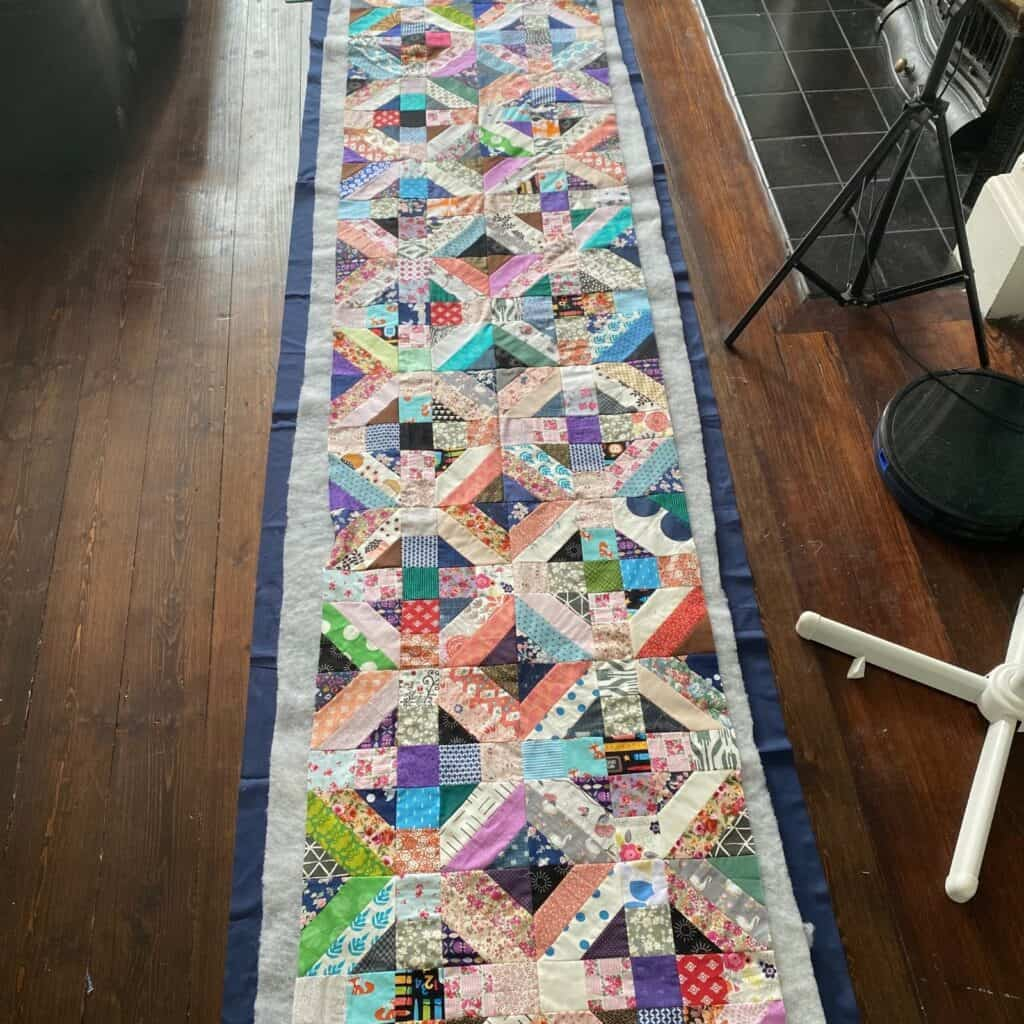 queen sized quilt as you go sections