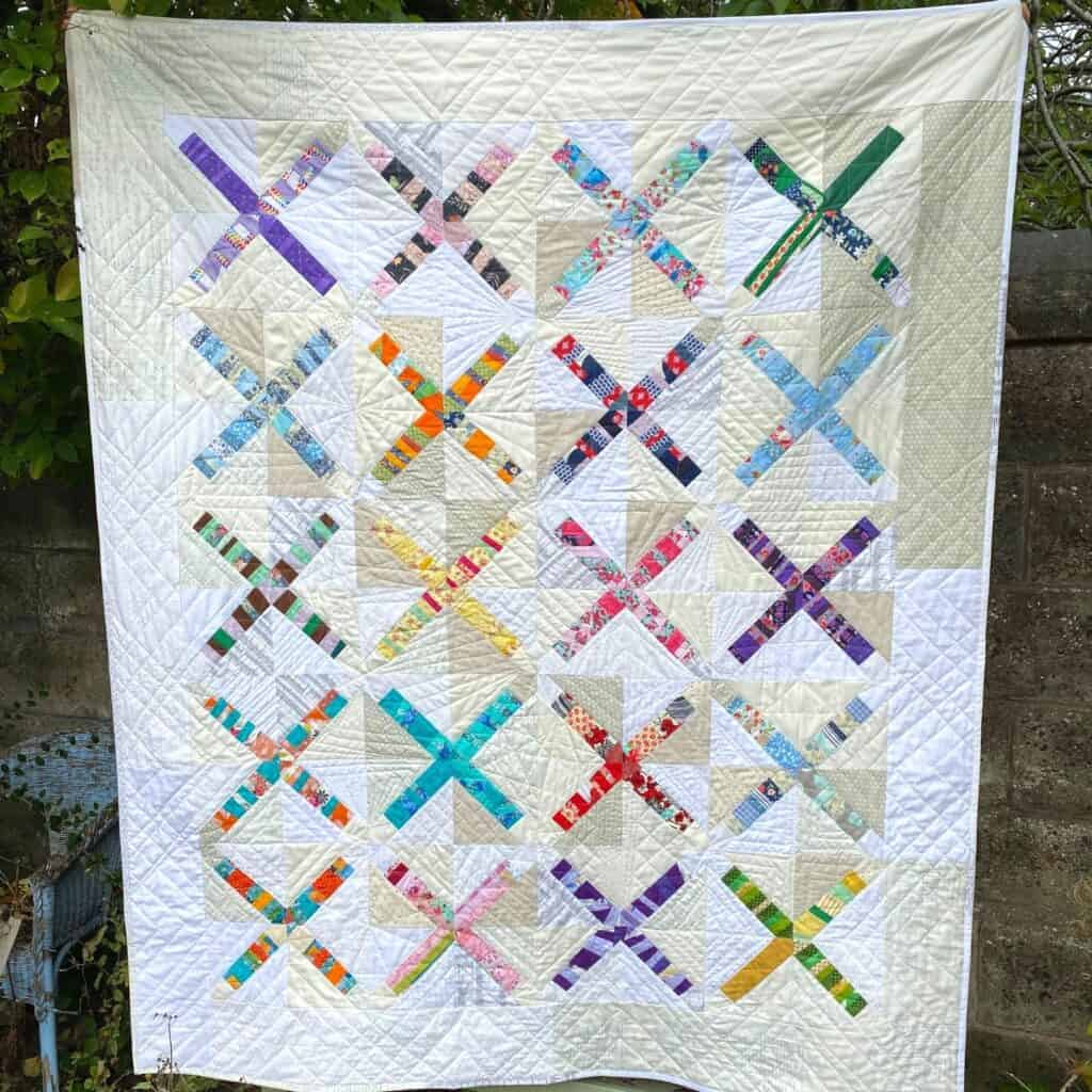 free quilt pattern for scraps - x marks the scrap