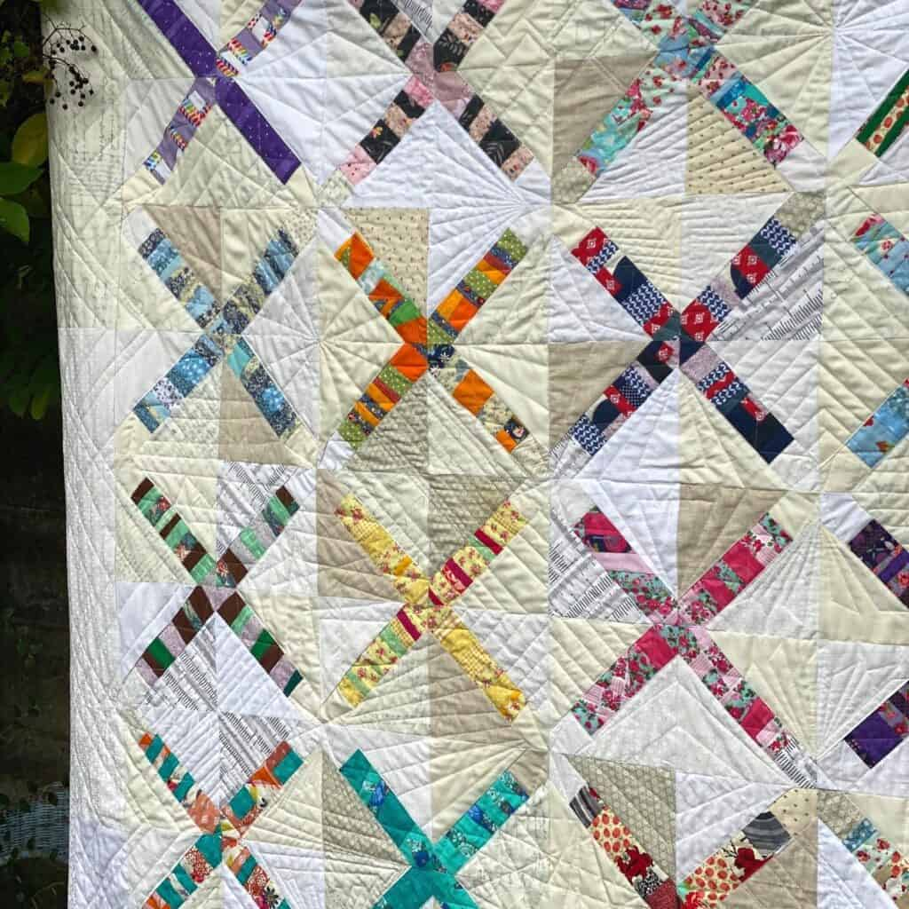 ruler quilting on scrap quilt