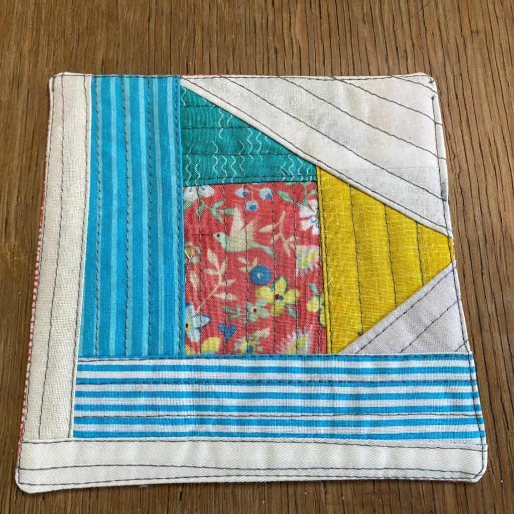 quilt as you go modern scrappy coaster