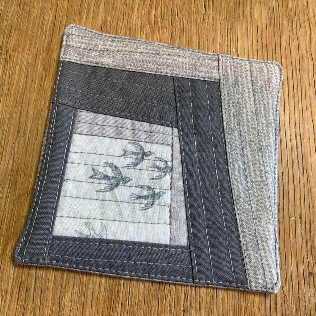 quilt as you go coaster - grey fabric