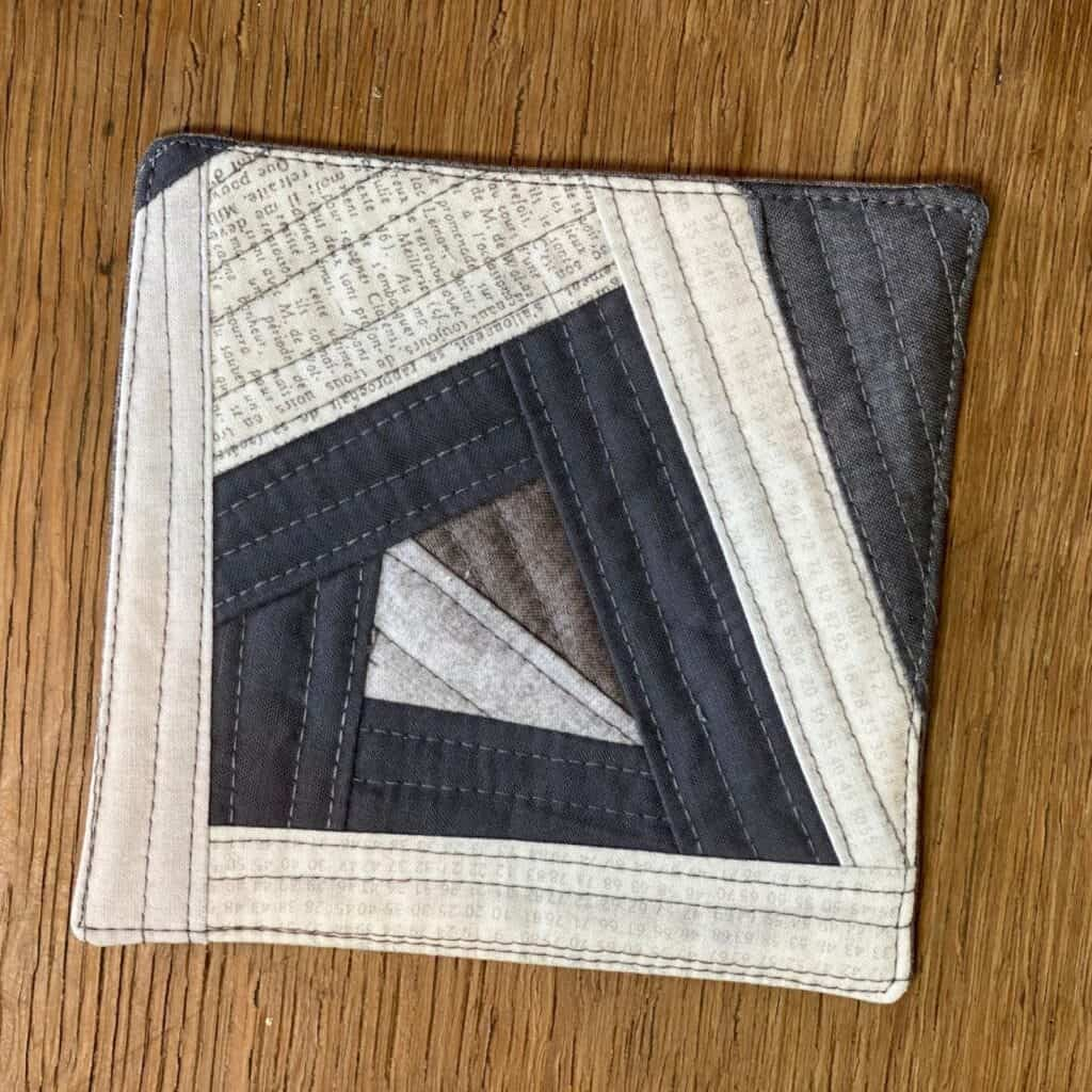 quilted scrap fabric coaster