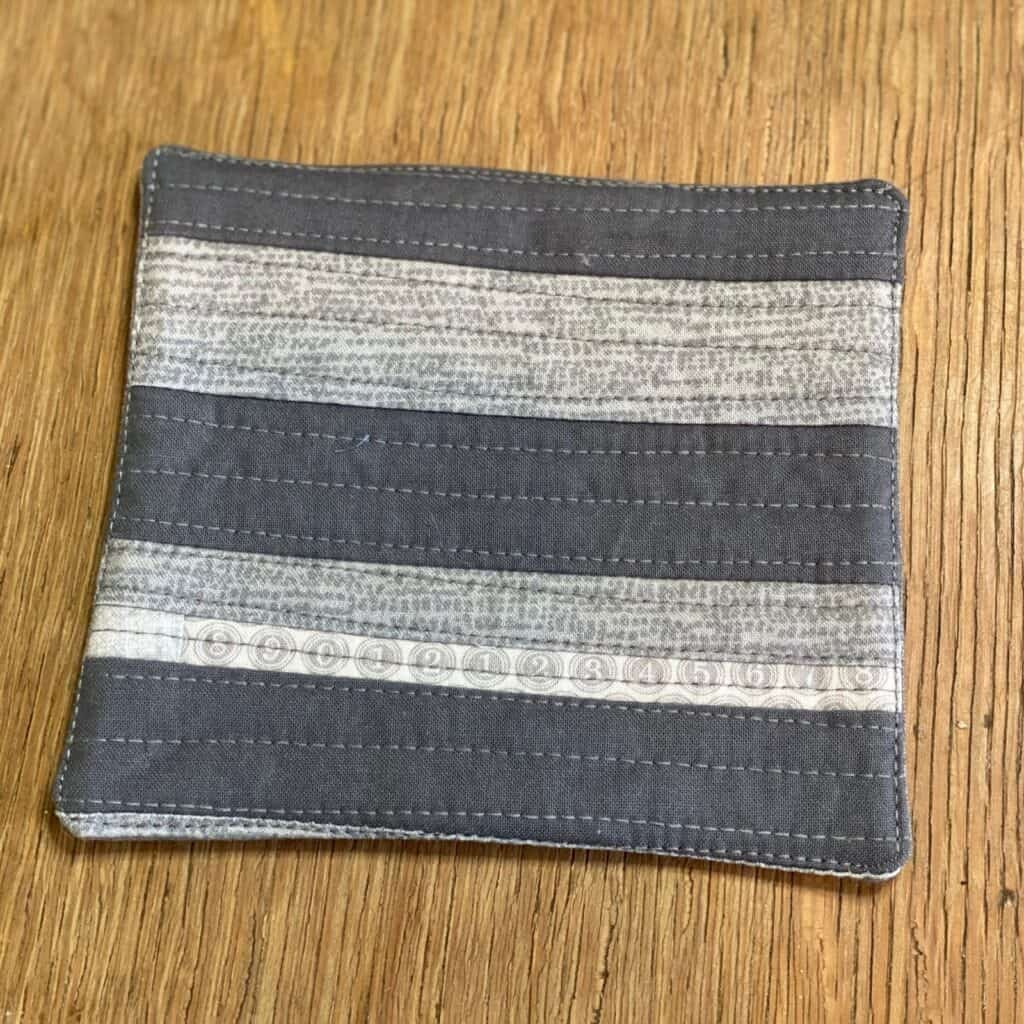 quilt as you go coaster with strips