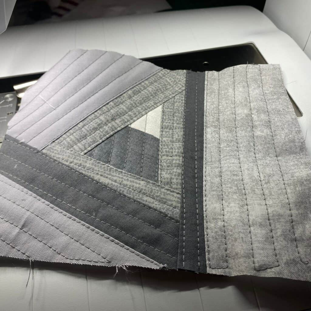 quilt as you go scrappy coaster - triangle