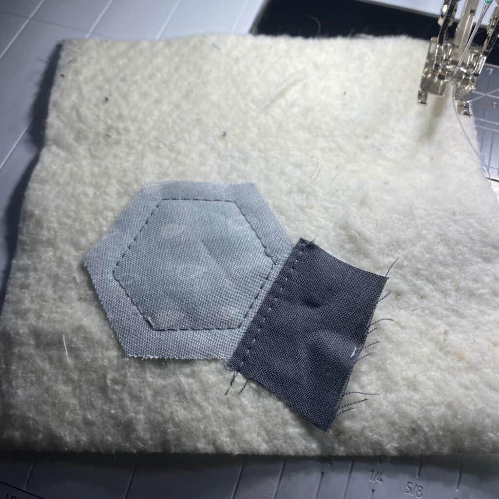 hexagon quilt as you go coaster